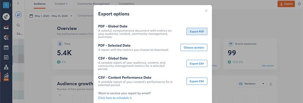 exporter un raport sur AgoraPulse