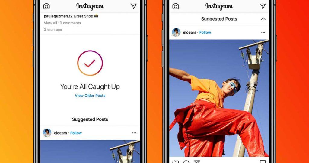 Les publications suggérées dans le feed instagram