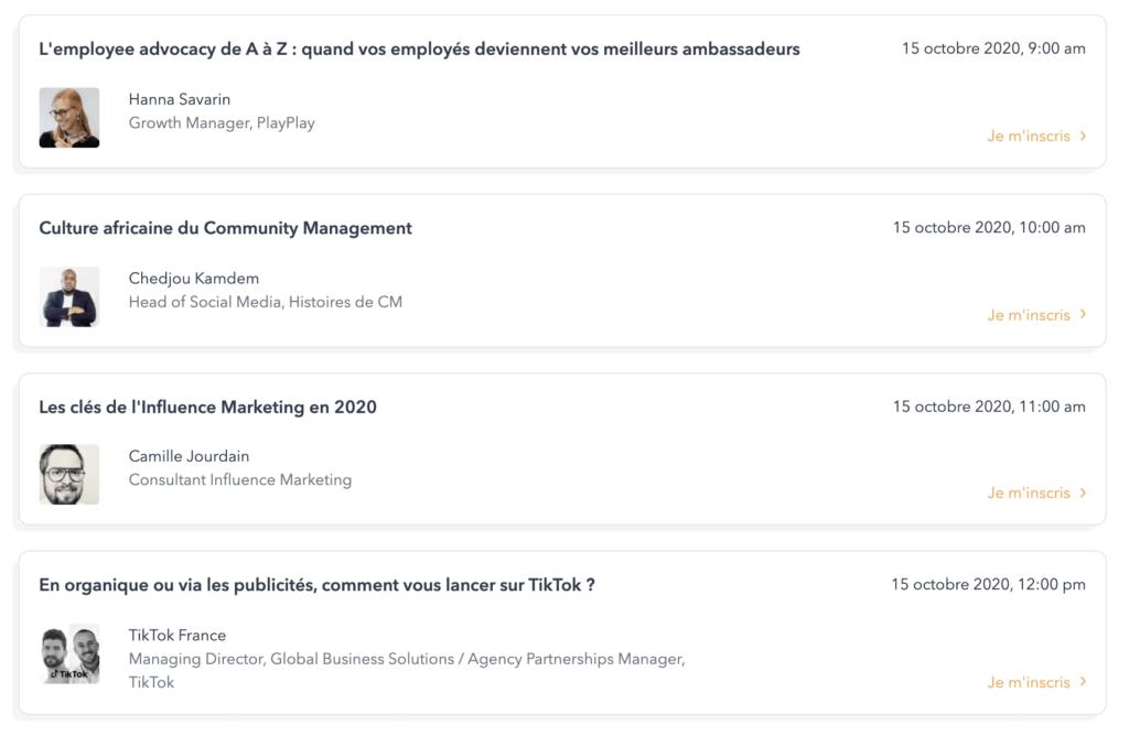 Evènement réseaux sociaux : exemples de conférences lors de what's up social 2020