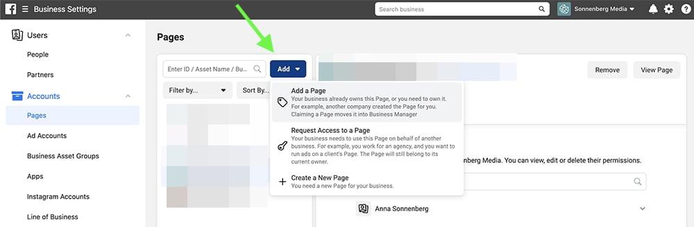 ajouter page facebook dans le business manager