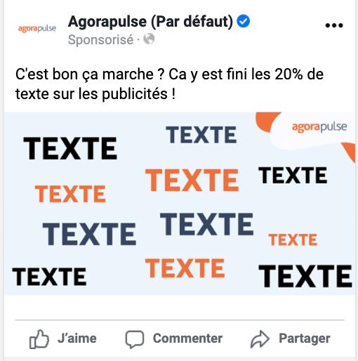 exemple d'ads facebook sans limite de texte de 20%