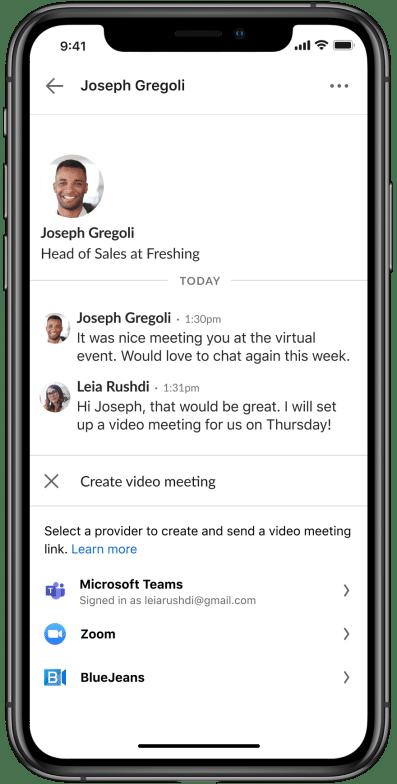 lancer une conférence vidéo depuis la messagerie privée linkedin