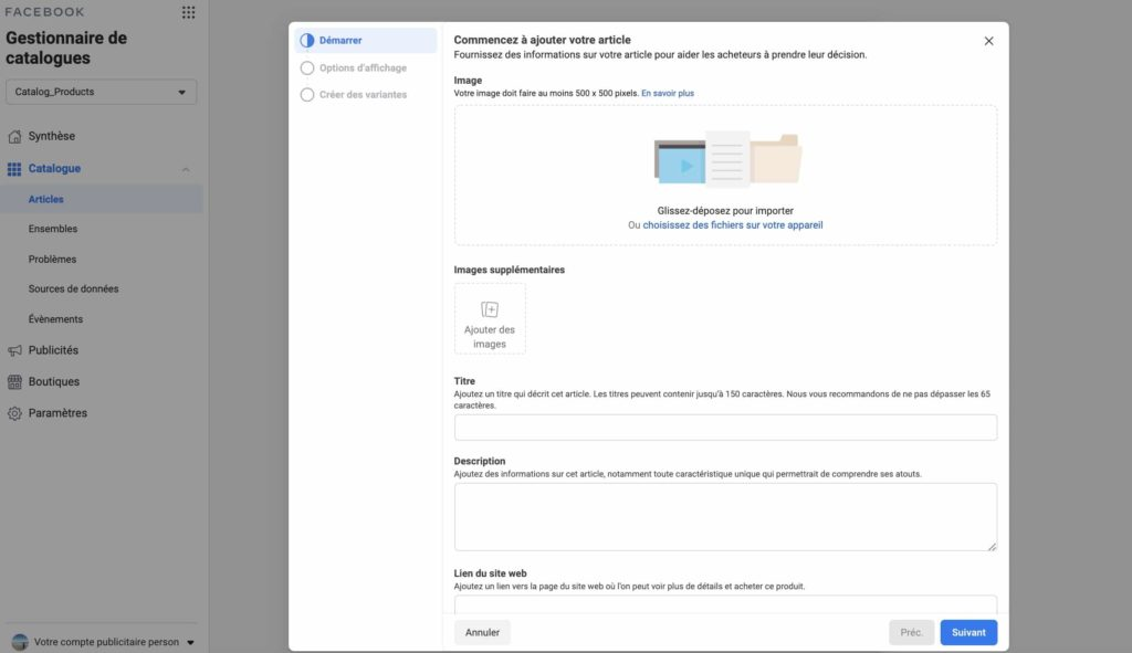 informations nécessaires à la création d'un article de catalogue sur Facebook