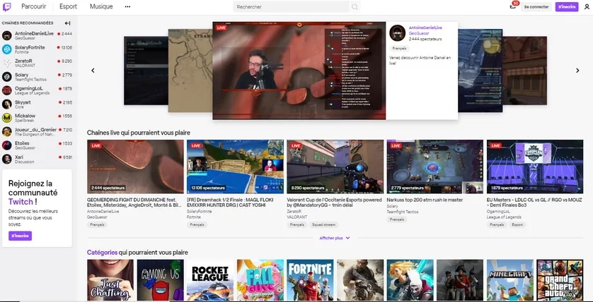 page d'accueil twitch