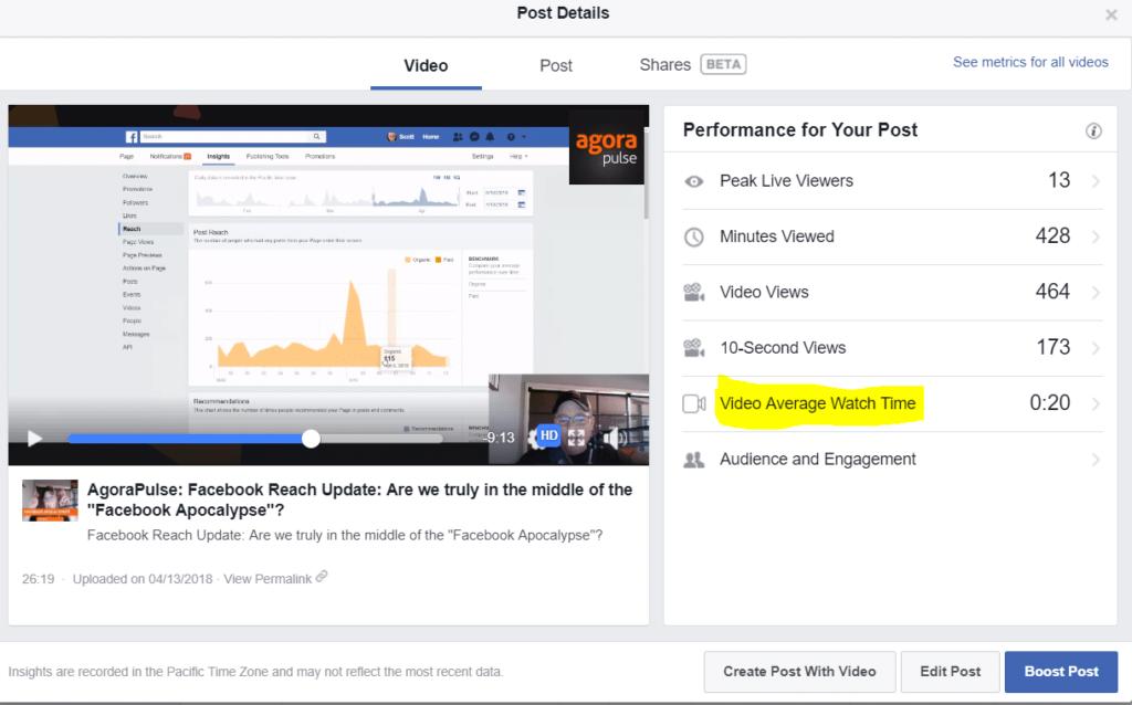 statistiques vidéos Facebook
