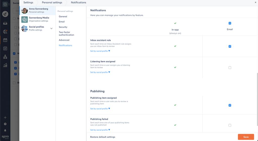 gestion des notifications sur Agorapulse