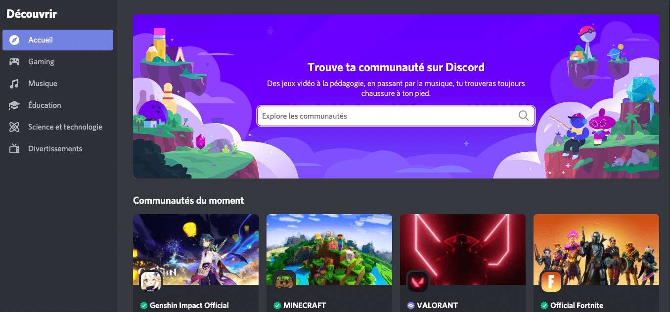 Page d'accueil Discord