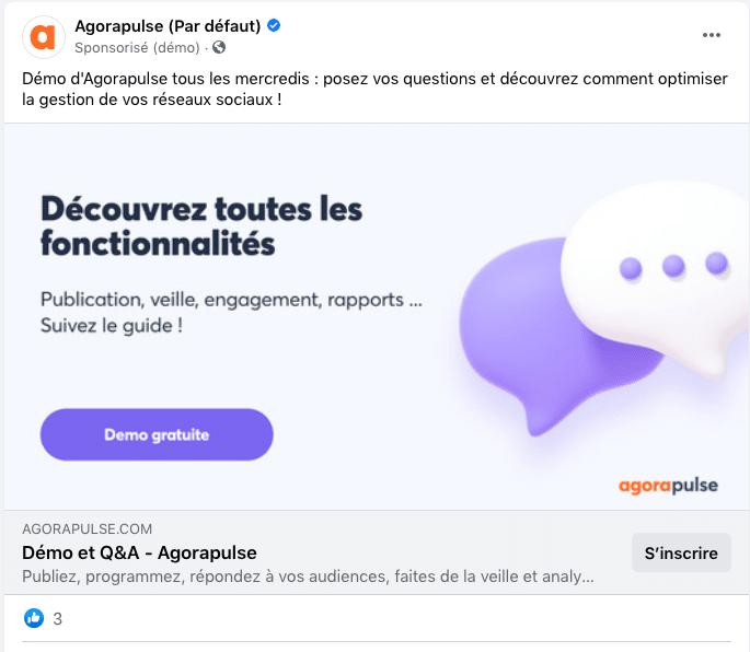 exemple de call to action sur une publicité Facebook