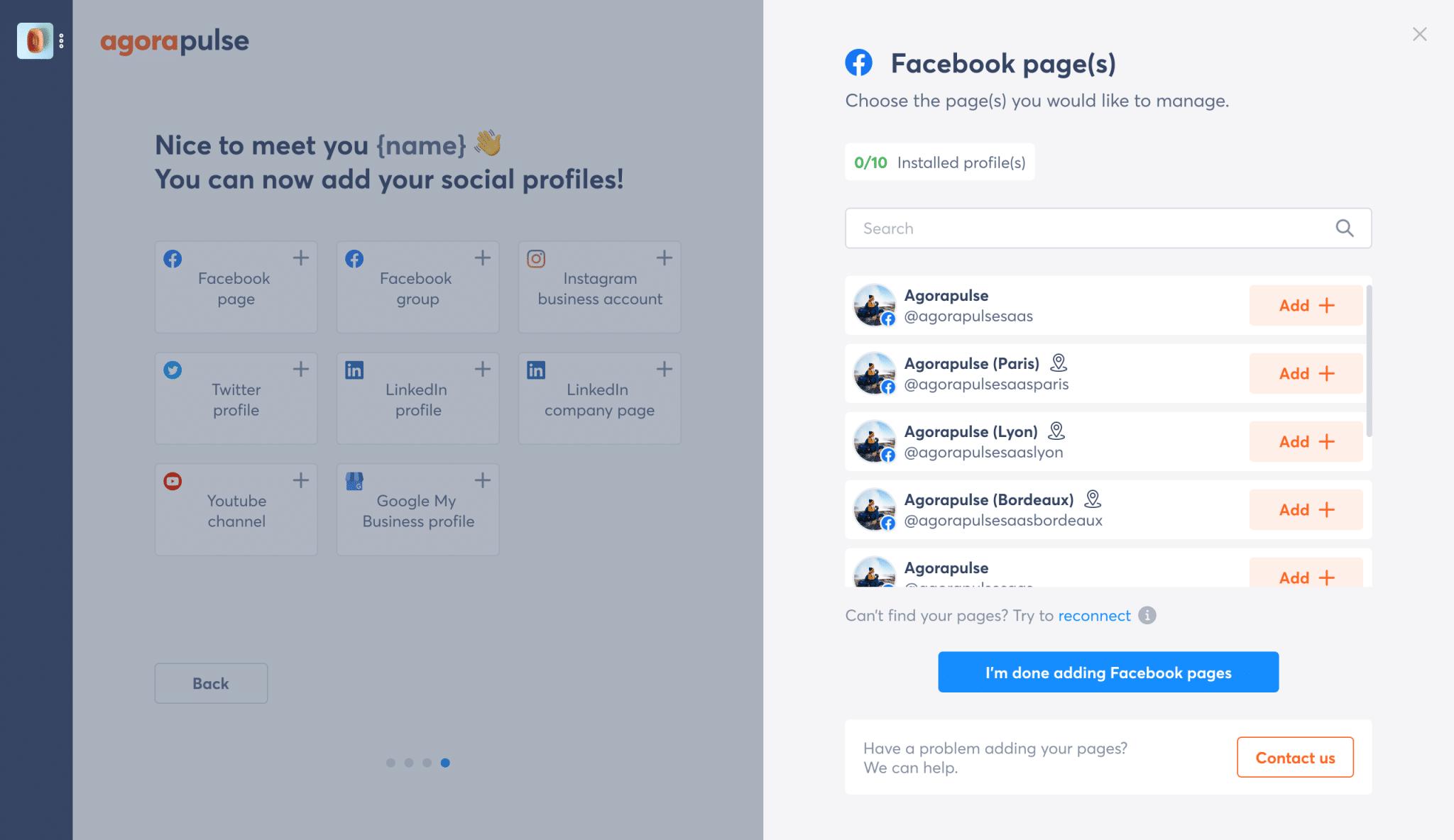 comment connecter des pages lieux avec Agorapulse