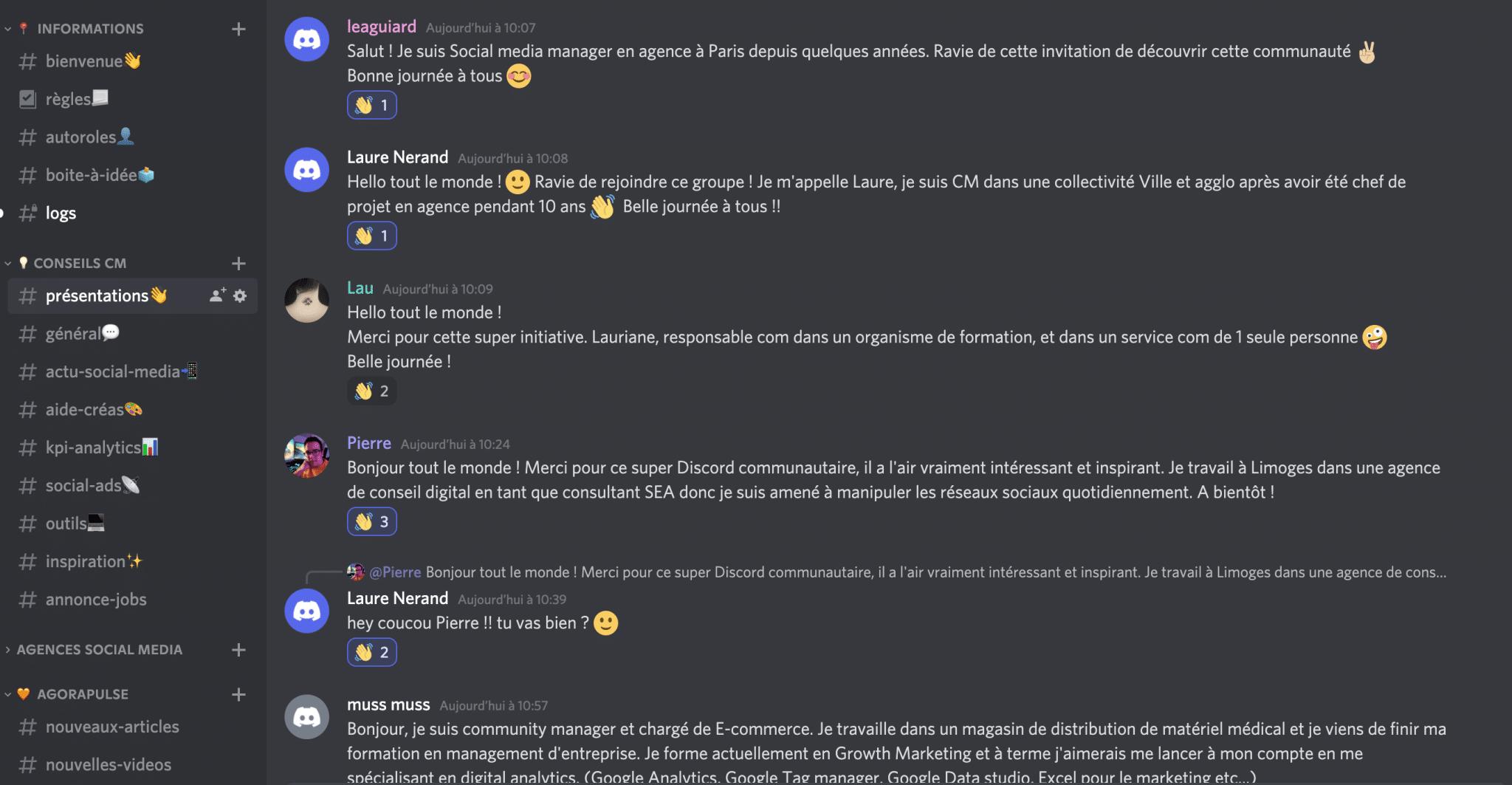 exemples de discussions sur la communauté Discord des communitys lanagers