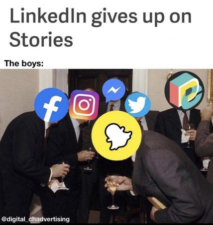 what's up social : fin des Linkedin Stories fin
