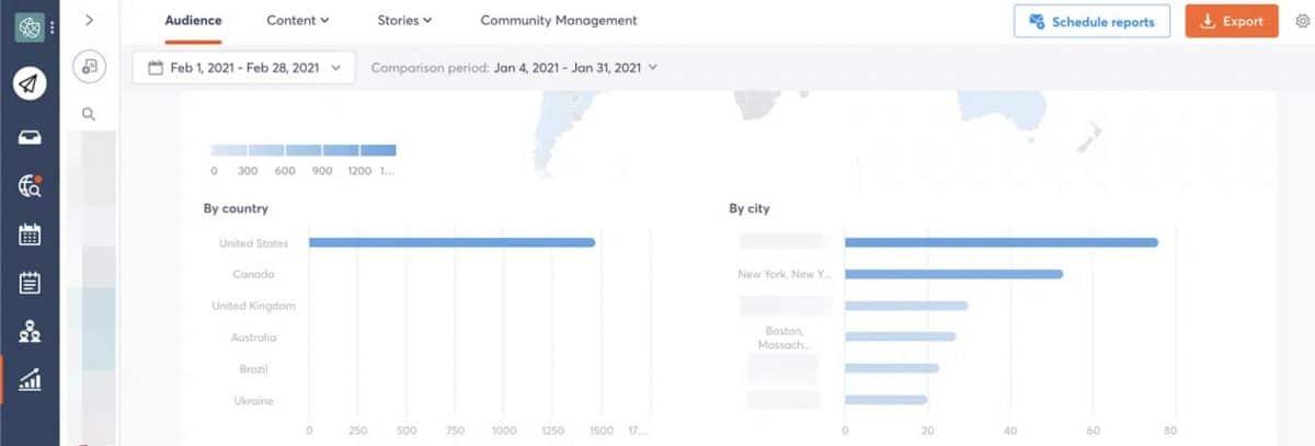 villes et pays des abonnés Instagram via Agorapulse