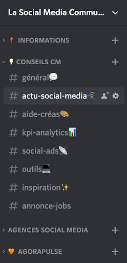 liste des channels sur la social media community