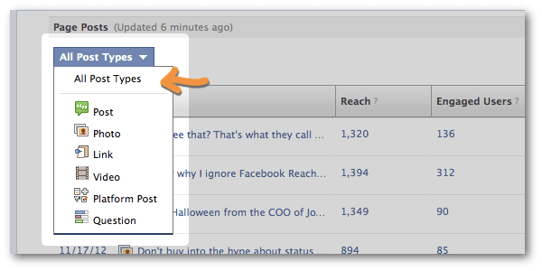 Filter Facebook insights by post type