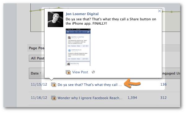 Facebook statistics post preview