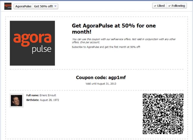 Facebook Coupon App on Agorapulse