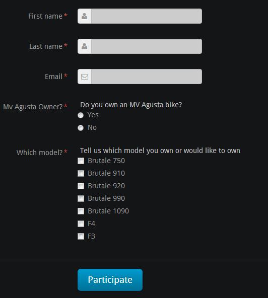 Um exemplo de formulário de um concurso de fotos para introduzirem seus dados e para identificarem seu tipo de moto.