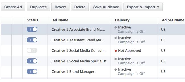 Facebook Power Editor Bulk Editing