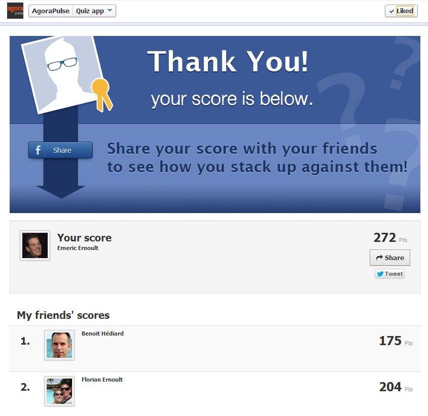 Oferecer contexto social é uma das vantagens únicas do Facebook. Em um Quiz no Facebook, o contexto social oferecido pelo aplicativo vai permitir a cada participante se comparar com seus amigos. Este tipo de atividade não seria possível sem a instalação do aplicativo.