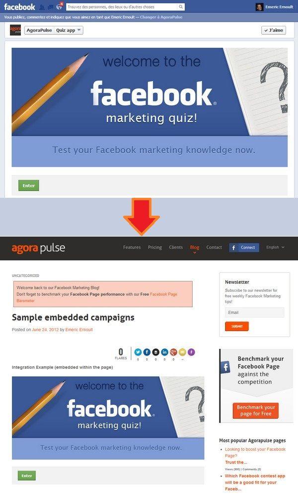 Agorapulse oferece uma opção para embebed seu concurso do Facebook no seu blog ou website . Uma forma de alavancar o tráfego existente no website e aumentar a participação em seu aplicativo.
