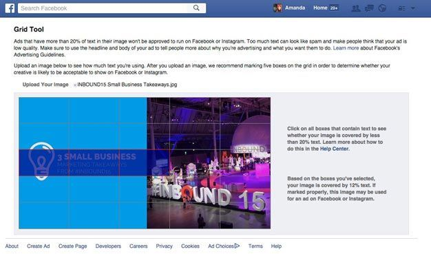 Use Facebook grid tool to find out if your image compies with the 20% text rule.