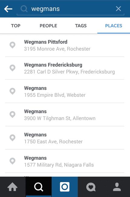 Screengrab of Instagram Explore Geolocation Places