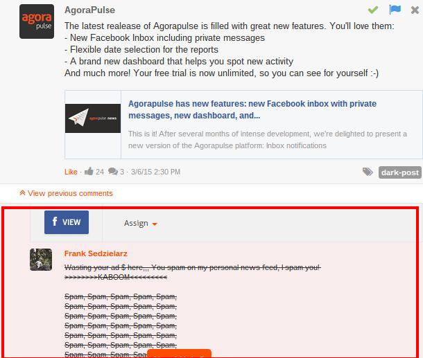 comments on dark, unpublished facebook post