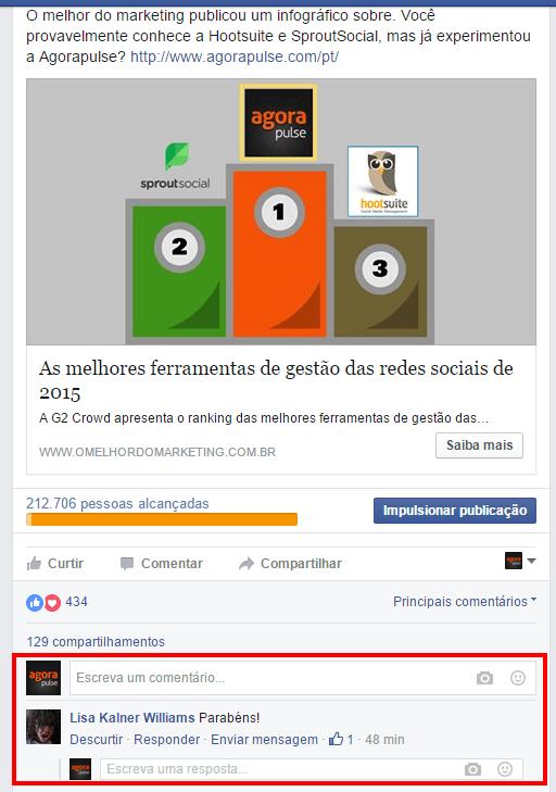 Uma vez que redirecionado(a) para Facebook, você irá obter diretamente o comentário em questão, destacado em amarelo. Se você tem um par de comentários ou centenas deles nesse post, ele vai ser fácil de localizar.