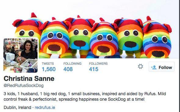 Bio no Twitter da Red Rufus Sock Dog cheia de personaldiade