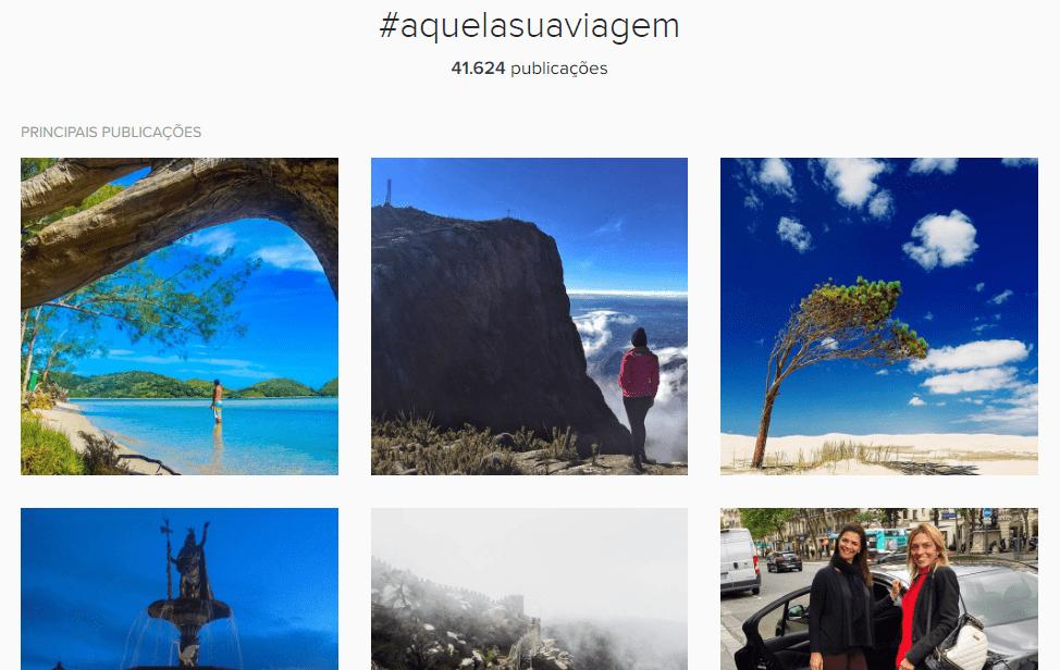 Posts de usuários do Instagram utilizando a Hashtag AquelaSuaViagem