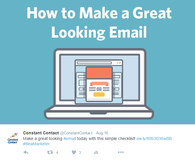Constant Contact Evergreen Email Checklist Tweet