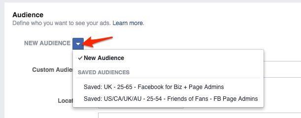 Como acessar o público salvo do Facebook ao criar anúncios