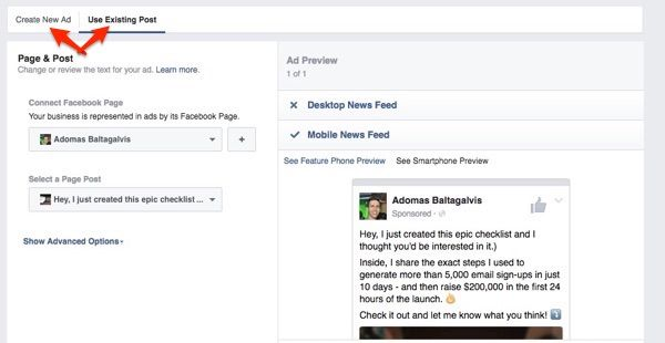 Como duplicar anúncios no Facebook, selecionando mensagens