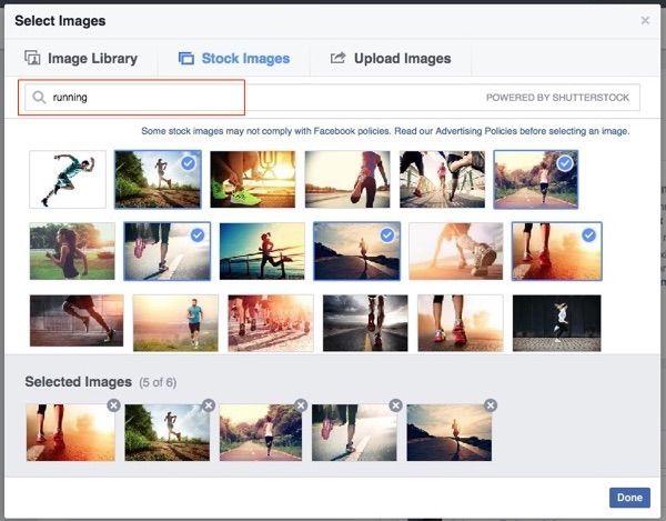 Criação de anúncios no Facebook com imagens grátis da Shutterstock