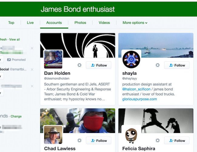 Twitter search for accounts that mention James Bond enthusiast