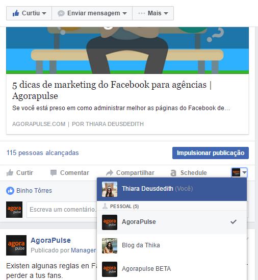 comente como perfil pessoal no facebook