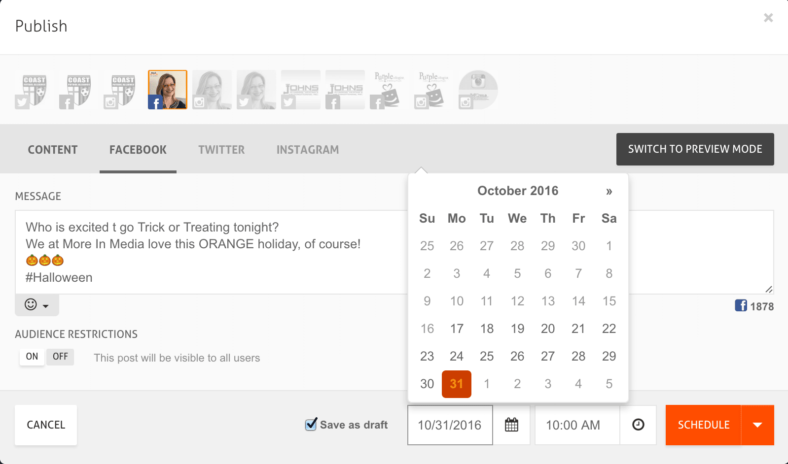 Using AgoraPulse To Schedule a Facebook page post!