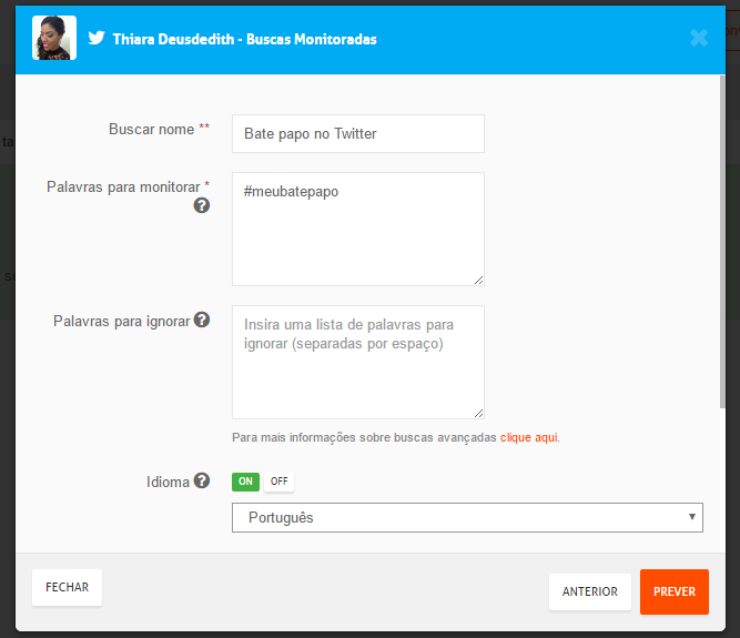 monitoramento no Twitter