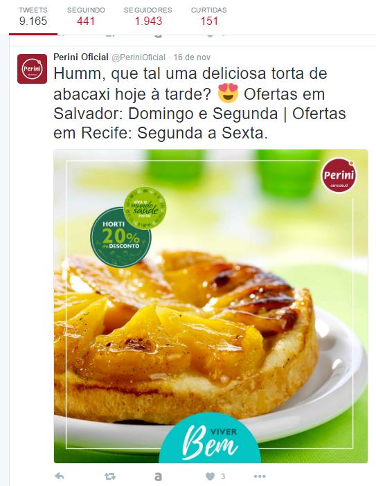 promoção da Perini no Twitter