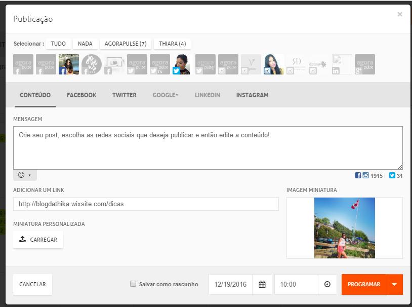Agende posts em múltiplas plataformas