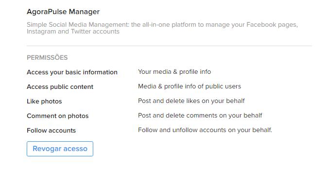 revogar acesso - Instagram