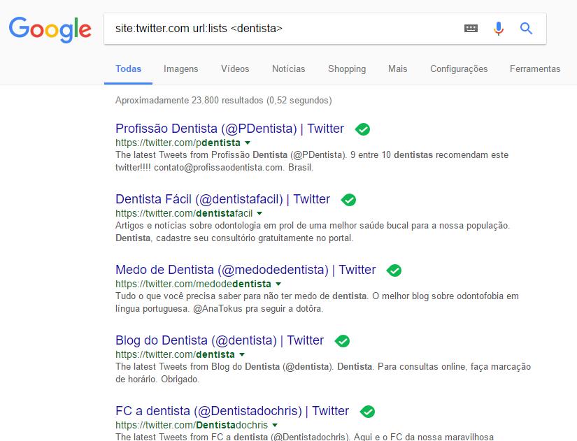 listas do Twitter