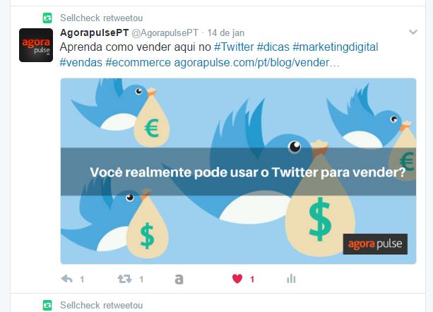 planejamento de mídia social com RT no Twitter da Agorapulse