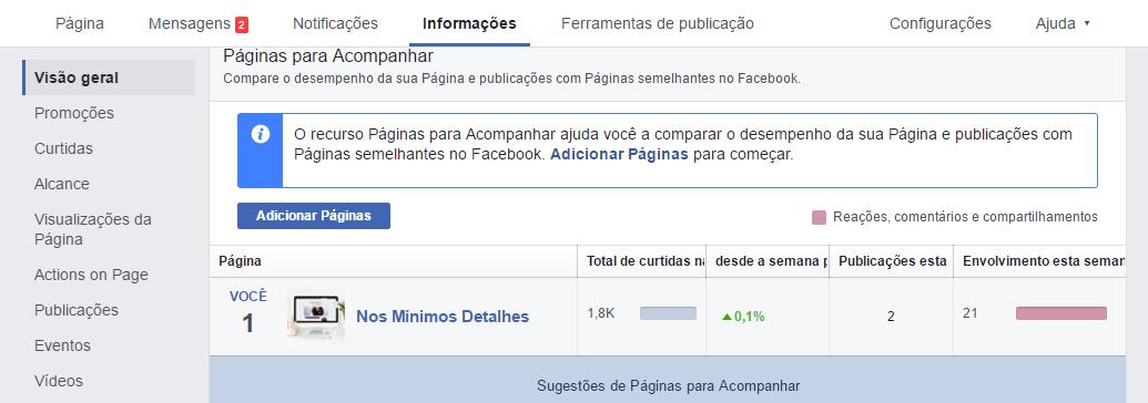 Concorrentes no Facebook - Páginas para acompanhar 1