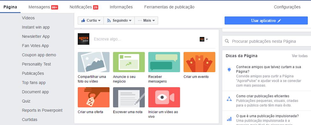 Opções de publicação do Faceook