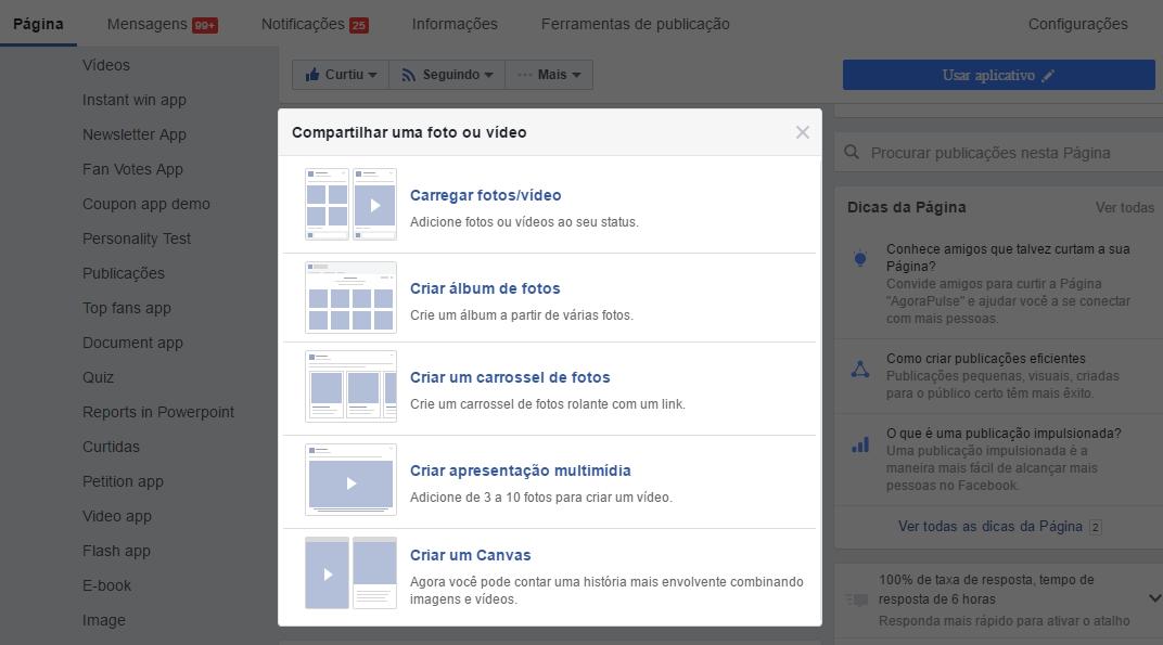 Publicação do Facebook - Foto ou Vídeo