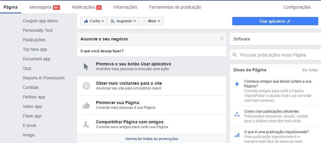 Publicação do Facebook - Anunciar seu negócio