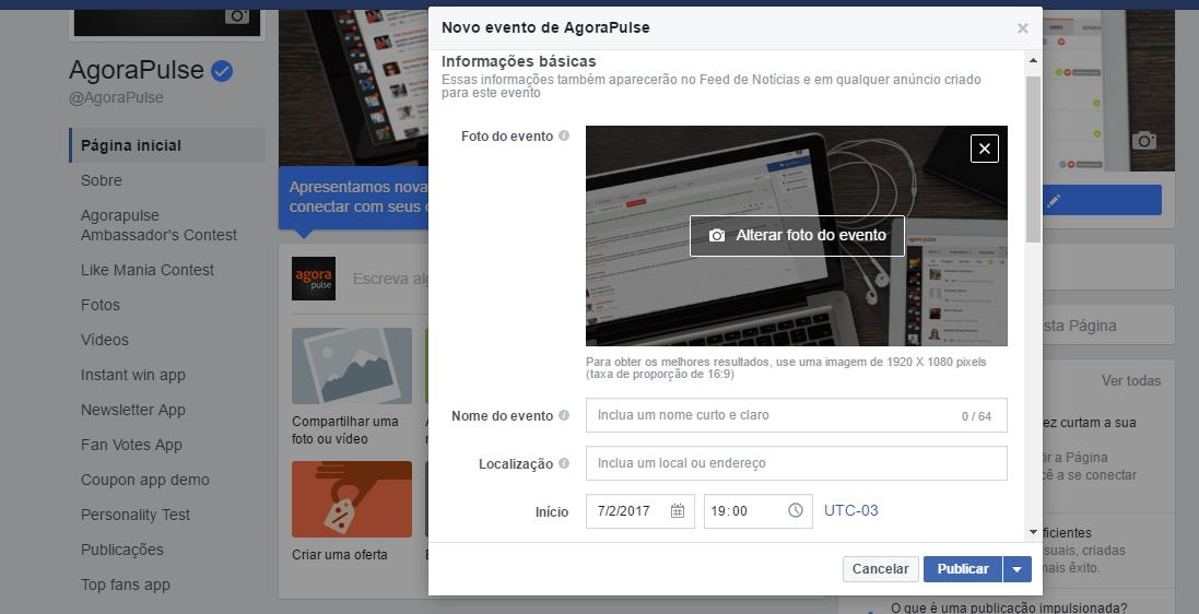 Publicação do Facebook - Criar evento