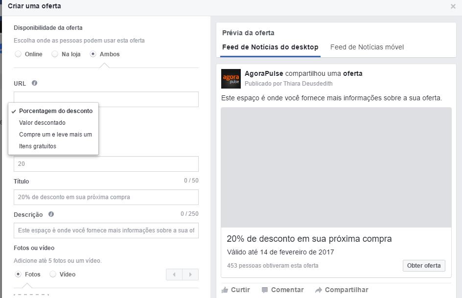 Publicação do Facebook - Criar oferta