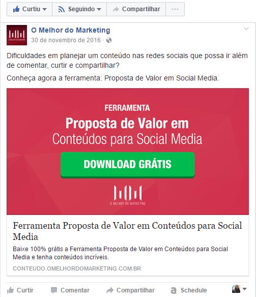 Reutilizar conteúdo - Facebook